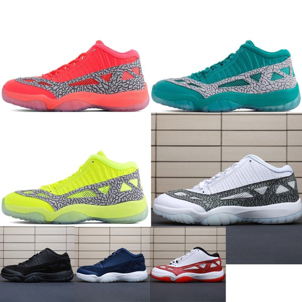 69cbbb8d28c Retro Mens 11s low ie basketball shoes highlighter Red Green Blue Oreo  Black White BHM youth