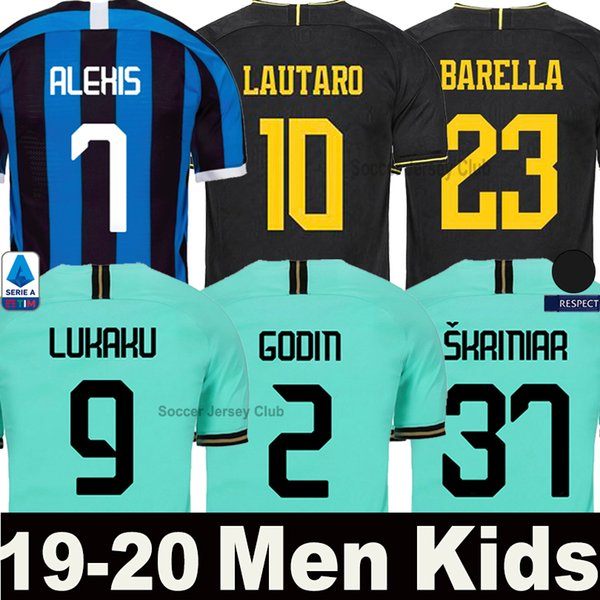 best selling 19 20 LUKAKU ALEXIS LAUTARO Inter SKRINIAR Milan soccer jersey 2019 2020 GODIN BARELLA POLITANO third black football kit shirts Men Kids set
