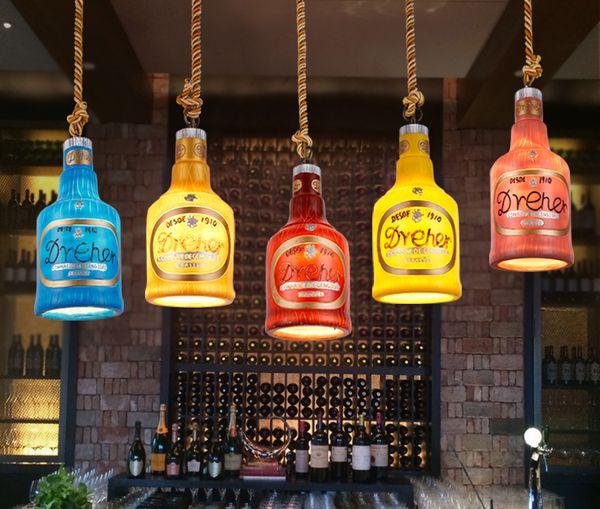 best selling Creative bar bar chandeliers shop restaurant lounge personalized single retro wine bottle single head decorative lamps