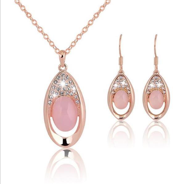 New Pink Stone Drop Necklace Orecchini Jewelry Set Crystal Rose Gold Collana a catena per le donne Gioielli da sposa