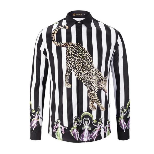 2019 Nova Chegada de Luxo Camisa Dos Homens Moda Camisa de Vestido de Manga Longa Impressão Listrada Leopardo Casual Slim Fit Camisa Masculina
