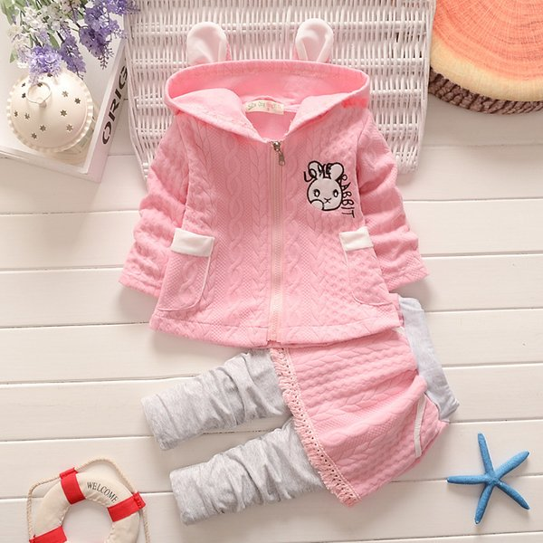 good quality fashion baby girls hooded coat+pants 2 pcs set rabbit pattern print infant pink outfit high quality kids spring clothes