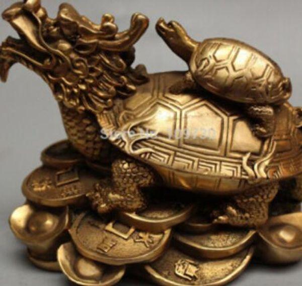 Ücretsiz kargo Chinesse Bronz Servet YuanBao Para Ejderha Kaplumbağa kaplumbağa Çocuk Heykeli