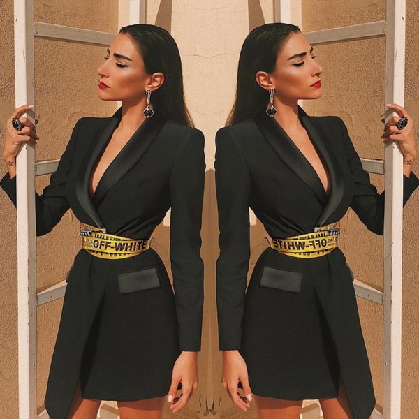 KLEEZY New Arrival 2019 Women Irregular Coat Love Sashes Jacket Cool Body-con Party Office Wear Warm Clothes BY869