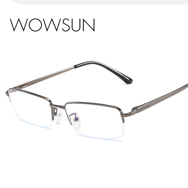 WOWSUN Classic Half Frame Rechteck Form Vollrand Sith Silikon Nasenpolster Ultraleichte Frauen Persönlichkeit Brille Männer A261