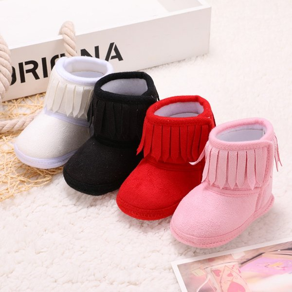 Winter Snow Boots Infant Soft Bottom Infant Tassel Toddler Shoes New-arrival Baby Shoes Soft Sole Anti-slip Crib Boots