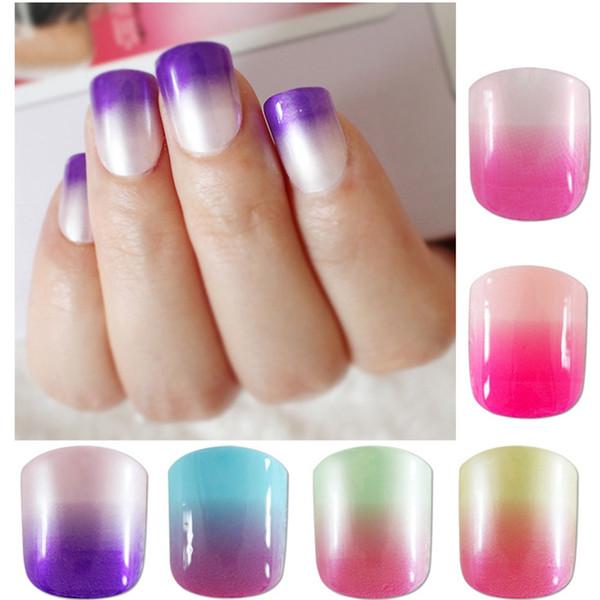 Мода накладные ногти Candy Gradient Розовый Фиолетовый акриловые Поддельные ногти Искусственные Art Советы Маникюр Женщины DIY 12 вариантов