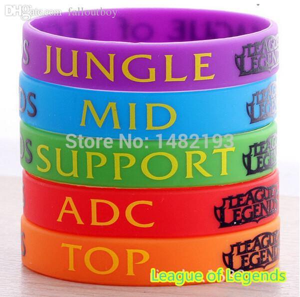 Venta al por mayor-LOL, pulsera de League of Legend, pulsera de silicona con ADC, JUNGLE, MID, SUPPORT, DOTA 2 Printed Band, 5pcs / Lot, envío gratis