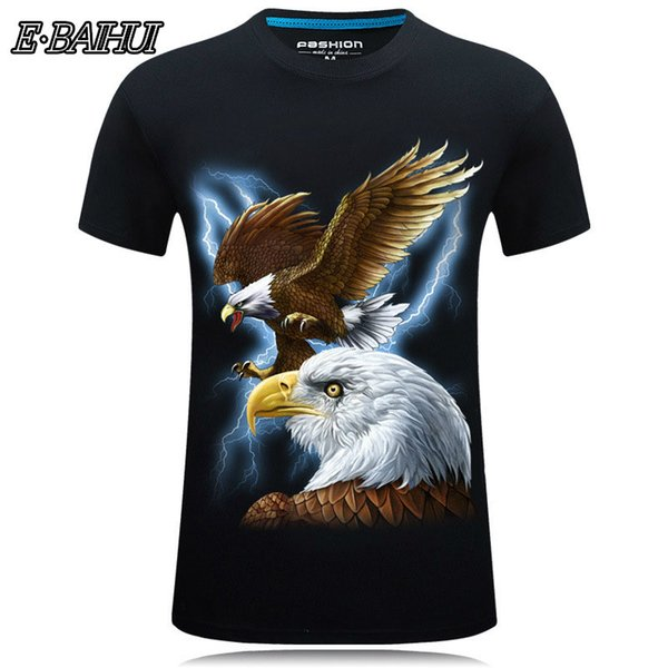E-BAIHUI 3D T-shirt Luxury Fashion Summer Short Sleeve Hip Hop Eagle Print T-Shirts Plus Size Casual Tops 5XL 6XL Homme T-27