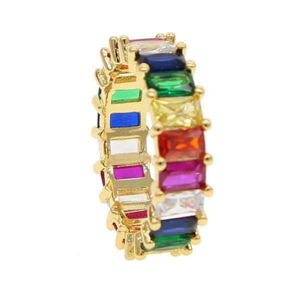 2019 rainbow baguette cubic zirconia cz Gold filled engagement band ring for women USA hot selling drop shipping female jewelry