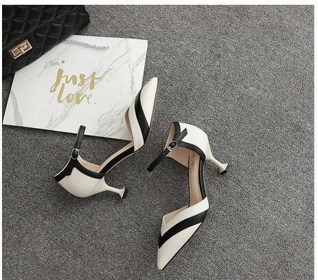 НОВЫЕ женские туфли на высоком каблуке Тонкий каблук Тонкий каблук Каблук на каблуках Женская обувь Свадебная обувь на шпильке Сандалии с острым носком Обувь Sapato Feminino РАЗМЕР; черный,