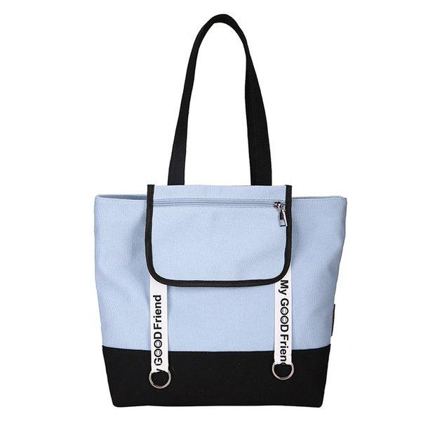 Eco Shopping Bag Korean Style Crossbody Canvas Cloth Bag Black White Single Shoulder Woman Reusable Zipper Book