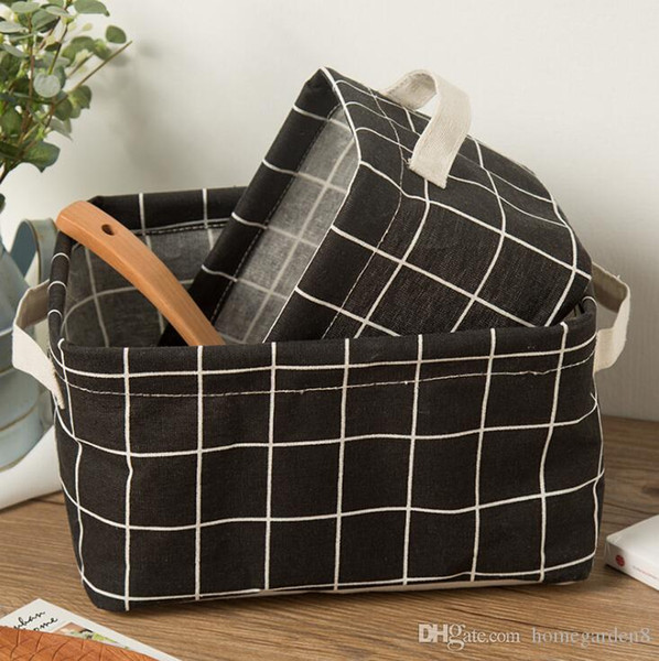Fabric cotton storage box cosmetic storage basket desktop remote control folding home storage box