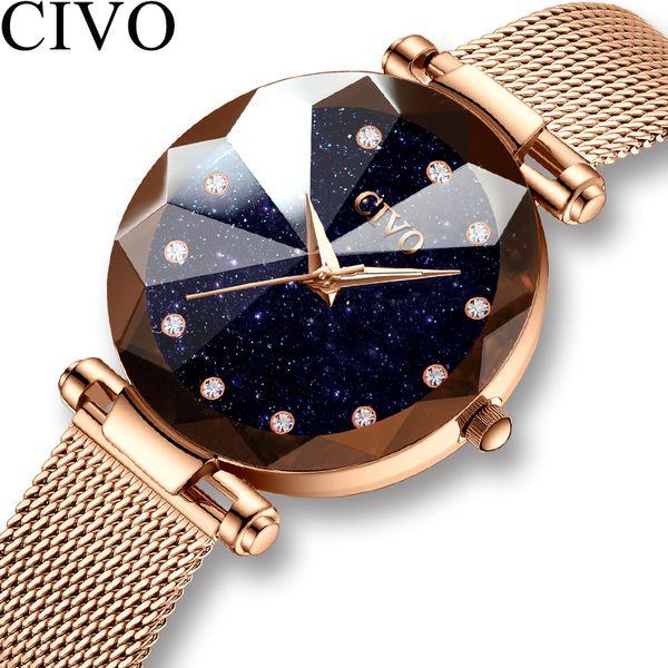 Civo Fashion Luxury Ladies Crystal Watch Waterproof Rose Gold Steel Mesh Quartz Women Watches Top Brand Clock Relogio Feminino T7190617