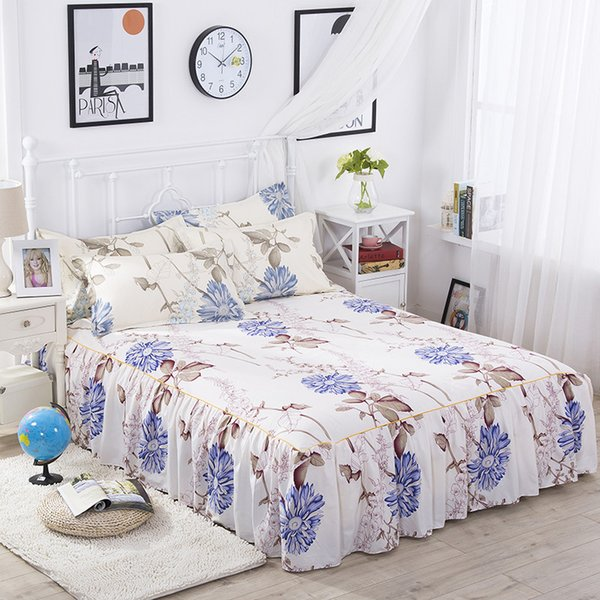 Beauty Floral Bed Skirt for Kids Adults Single Double Bed 100% Cotton Sanding Bed Skirts