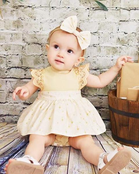 Ins Summer Infant ребёнки шнурок втулка Rompers юбка платье малыши Малыши Florals юбка Комбинезоны комбинезон с Bowknot Headband 14788