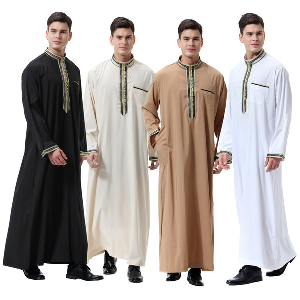 Muslimische Männer Abaya Stehkragen Türkische Kaftan Applique Roben Islamische Kleidung Dubai Naher Osten Arabische Mann Tragen DK739MZ