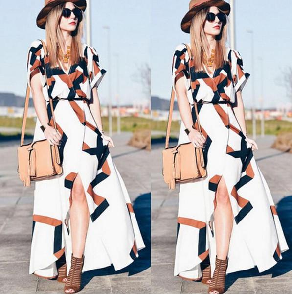 Spring/summer 2019 hot style European and American fashion digital print v-neck slit dress dress beach resort dress