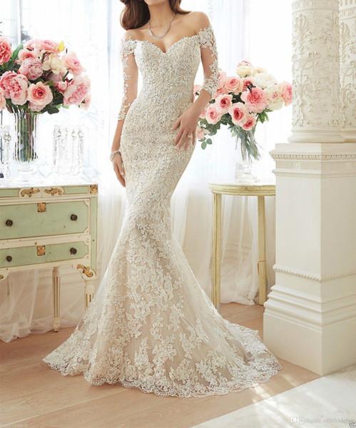 New Mermaid Wedding Dress 2017 Summer Lace Word Shoulder Sexy Illusion Back Bride Dress Hot Sale