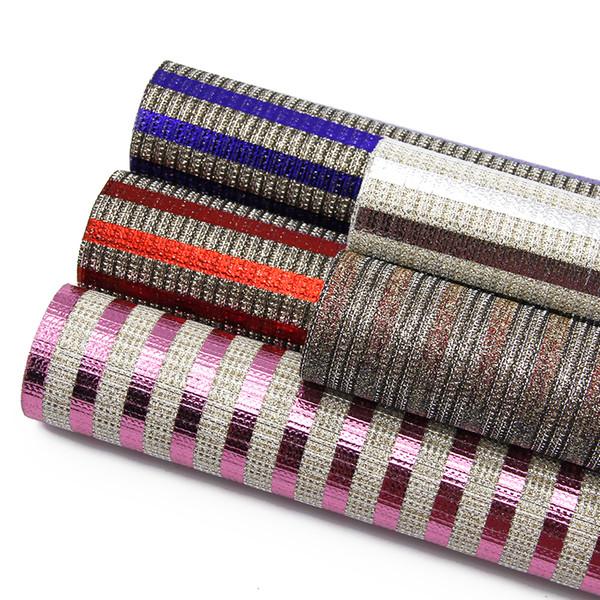 Fogli di tessuto in pelle sintetica sintetica Bump Texture 20 * 34cm Stripe, materiali fatti a mano fai da te per borsa 91295