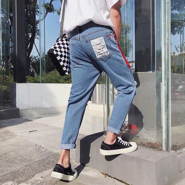 Wholesale 2019 Spring Autumn streetwear boys jeans knee hole pencil pants Slim patch men's pants students light teenagers jeans