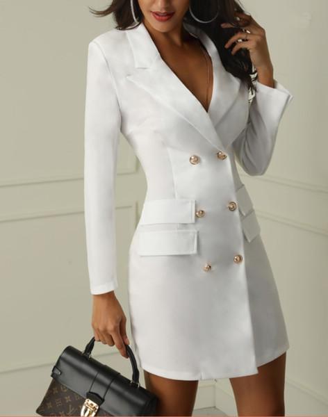 2019 2019 Black White Elegant Double Breasted Suit Jacket Dresses Lapel V  Neck Long Sleeves Sheath Fashion OL Work Dress Party Dress Real Image From
