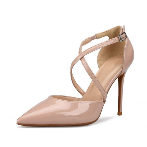 c5c9ab91566 6 8 10CM Sexy Thin High Heels Pumps Buckle Strap Office Wedding Shoes White  Woman Brand Luxury High Stiletto Heels Shoes Women Size 33-42