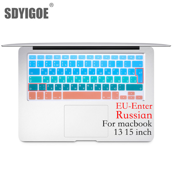 Russian EU/UK Silicone Keyboard Protector Cover Skin Protective Film For Mac Book Air13 pro15 A1466A1502 Colorful keyboard film