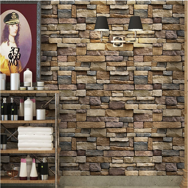 3D Decorative Wall Decals Brick Stone Rustic Self-adhesive Wall Sticker Home Decor Wallpaper Roll for Bedroom Kitchen