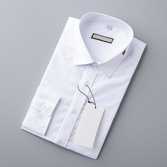 Высокая Модельер Мужские рубашки вскользь листья красный Цветочные Вышивка Белый Бизнес Офисные рубашки с длинным рукавом Марка Блуза B100218V