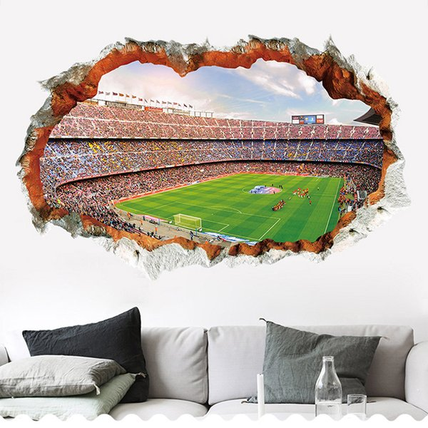 New 3D Brick Wall Pattern Football Field Wall Stickers For Kids Room Home Decor Sofa TV Wall Decals Self-adhesive Art Mural