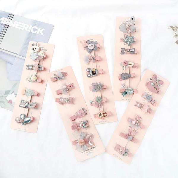 New Korean fashion hairpin, children cartoon cloth art baby hairpin, set cute headdress edge clip