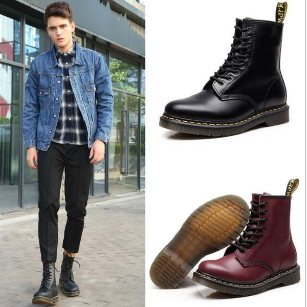 34-46 size brand new Genuine Leather Boots For Man Women Fashion Winter Ankle Boots Low Heel Martin Boot Motorcycle Boots