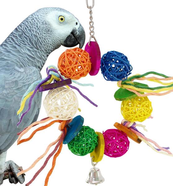 Papağan Kemirmek Oyuncaklar Kuş Oyuncaklar Sepaktakraw Tel Çekme Çekme Oyuncaklar Renk Ahşap Dize