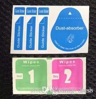 Staubabsorber + trockene feuchte Tücher 2 in 1 Reinigungstuch-Werkzeuge für ausgeglichenes Glas-Schirm-Schutz-Spiritus-Auflage-Telefon iphone X Samsung S9 Ipad