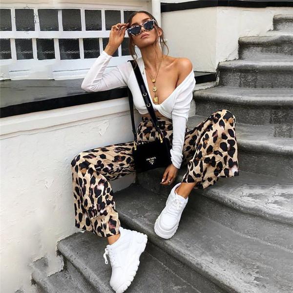 Kadınlar Moda Pantolon Yüksek Bel Flared Geniş Bacak Seksi Leopard Pantolon Ofisi Palazzo Lady Çalışma Pantolon yazdır Casual Uzun Pantolon