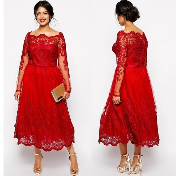 Vintage Red Plus Size Mutter der Braut Kleider Ärmel Quadratischer Ausschnitt Spitze Applizierte A-Linie Ballkleider Tüll Tee Länge Abendkleid