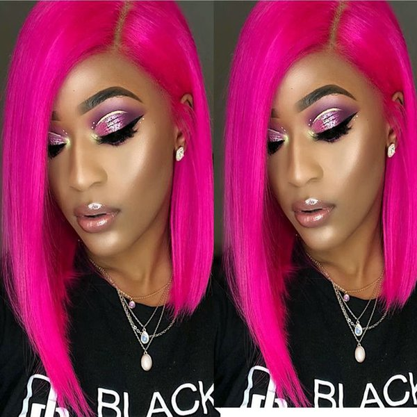 Pink Short Human Hair Bob Wigs For Black Women Colored Brazilian Bob Full Lace Front Wigs Pre Plucked With Baby Hair