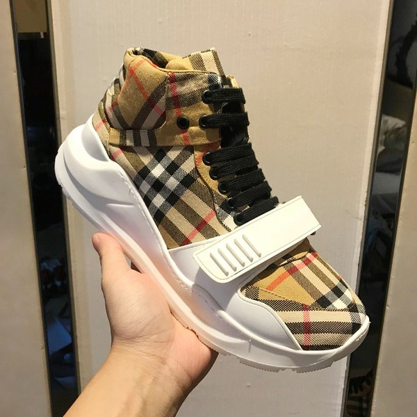 Erkekler Ayakkabı Bağbozumu Kontrol Pamuk Sneakers Erkek Ayakkabı Ruber Sole Erkek Sneakers Chaussures de spor hommes Breathale Stil Londra Moda dökün