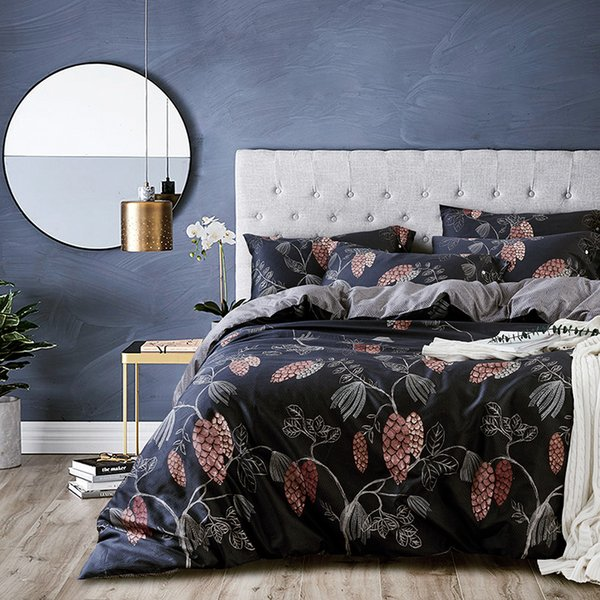 60S Egyptian cotton Bedding Set Queen King size Bed set Floral Stripe print Modern Duvet Cover Bed sheet set bedlinen Pillowcase