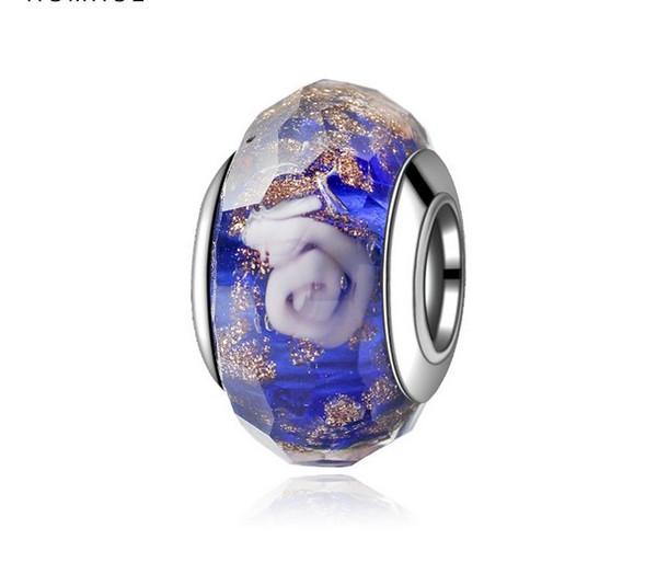 Fit Pandora Charm Bracelet 925 Sterling Silver Blue Rose Murano Glass Charms Beads DIY europeo gran agujero Lampwork para mujeres collar joyería