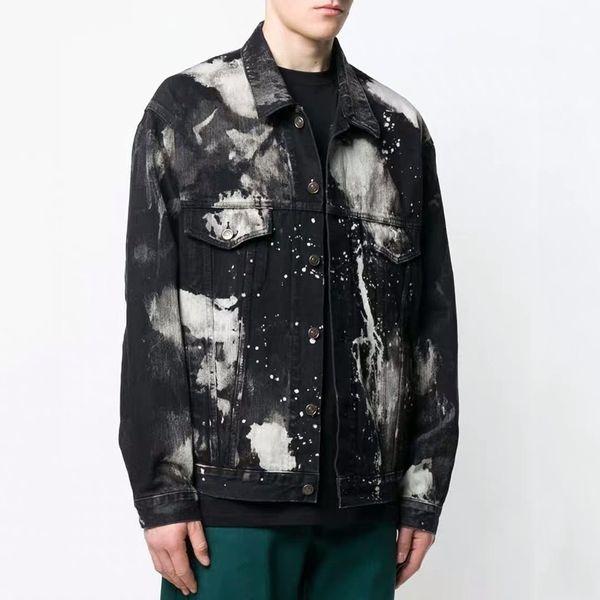 19SS New BLCG Splashing Ink Denim Jacket High-end Fashion Street Casual Hip Hop Primavera Autunno Denim Coat Outwear Top HFYMJK221