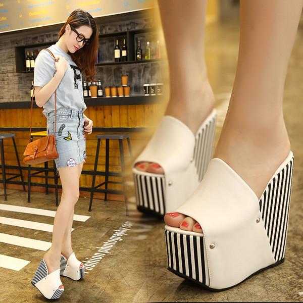 Sapatos de Salto Alto Super Slope Sandals Woman Nightclub