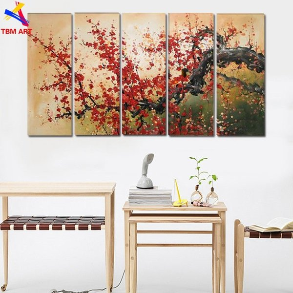 The Plum Blossom Canvas Painting Handmade Modern Abstract Oil Painting on Canvas Chinese Flower Oil Painting No Framed JYJLV200