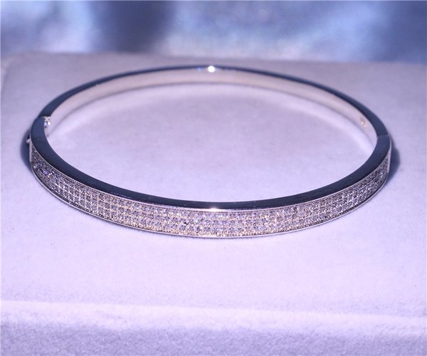 2019 Pay4U Handmade Fashion Bangle Jewelry 925 Sterling Silver Small Diamonique CZ Pave Setting Engagement Bracelet For Girlfriend Gift New