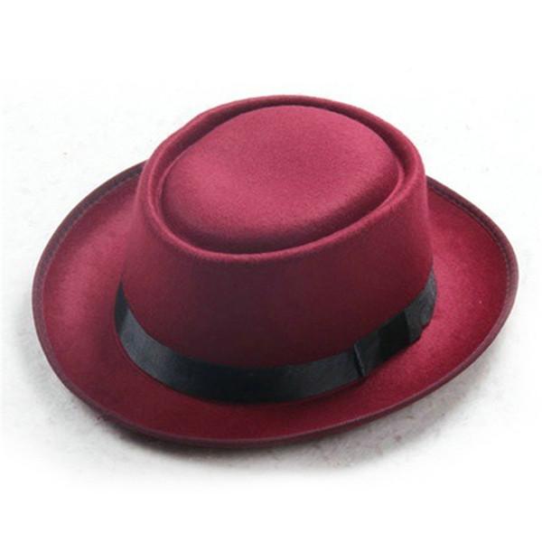 Sombrero de mujer Estilo británico Dama de la vendimia Sombreros de fieltro de lana Moda Flores Hueso Sombrero casual Gorras