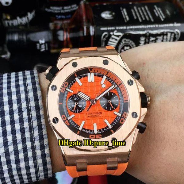 Cheap Royal Diver 26703ST 26703 Miyota Quartz Chronograph Orange Dial Mens Watch Stopwatch Rose Gold Case Rubber Strap Gents Wristwatches