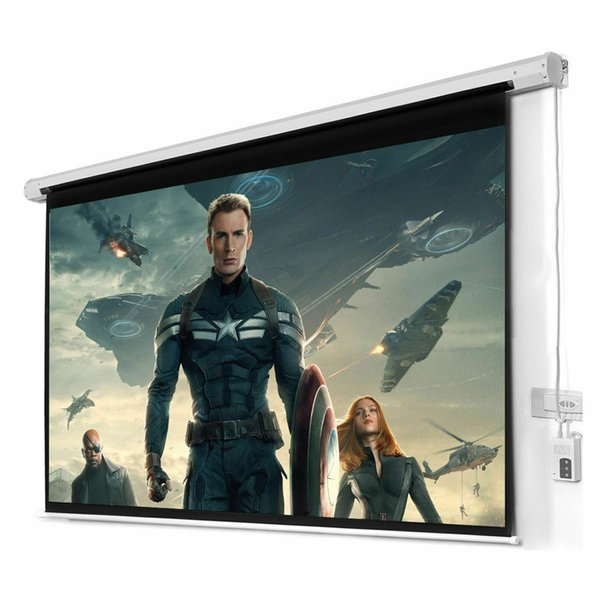 top popular New HD Foldable Electric Motorized Projector Screen + Remote 2019