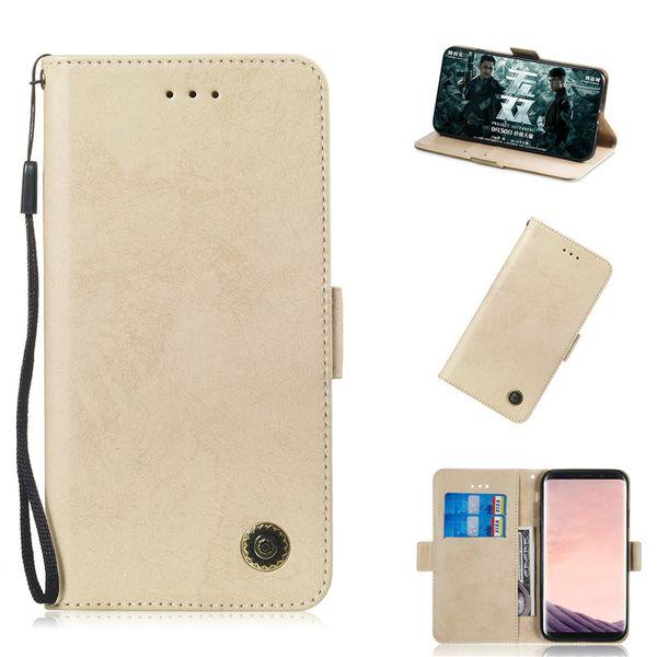 Flip suporte para samsung galaxy s9 s9 plus case tampa de couro retro puro design do telefone móvel sacos slot para cartão função
