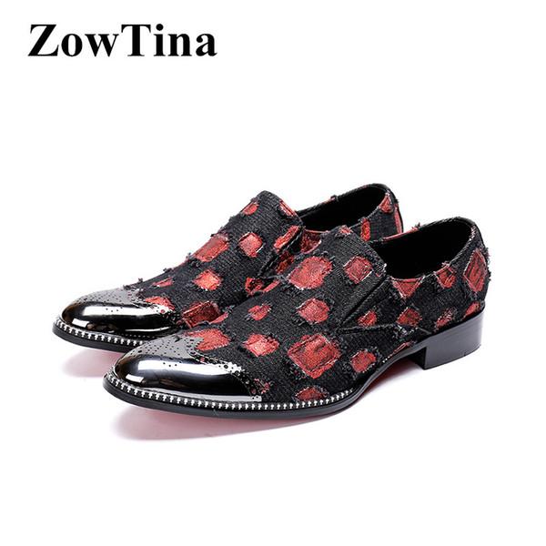British Style Men Slip On Formal Dress Shoes Round Toe Red Canvas Dots Business Flats Big Size 46 Men Wedding Shoes Vestidos